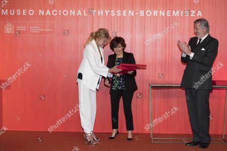 Carmen Von Thyssen-Bornemisza, Baroness Thyssen; Minister of the Presidency, Soraya Saenz de Santamaria and Minister of Culture, Inigo Mendez de Vigo