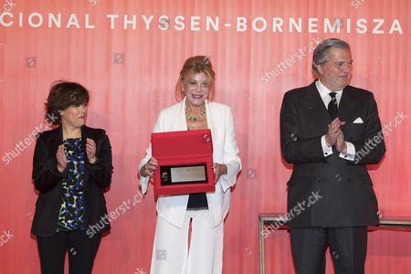 Minister of the Presidency, Soraya Saenz de Santamaria ; Carmen Von Thyssen-Bornemisza, Baroness Thyssen and Minister of Culture, Inigo Mendez de Vigo