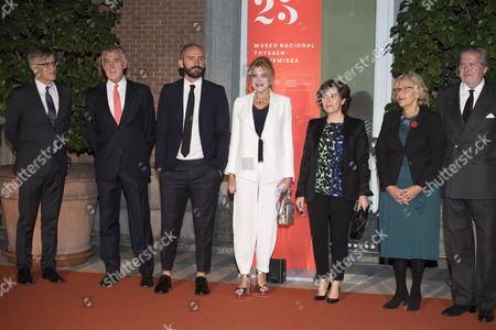 Guillermo Solana, director of the museum (L); Managing director of the Museum, Evelio Acevedo; Carmen Von Thyssen-Bornemisza, Baroness Thyssen (C); Minister of the Presidency, Soraya Saenz de Santamaria ; Manuela Carmena (2R) and Minister of Culture, Inigo Mendez de Vigo