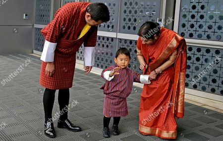 Sushma Swaraj, Khesar Namgyal Wangchuck, Jigme Namgyel Wangchuck. Indian External Affairs Minister Sushma Swaraj, right, poses with Bhutan's King Jigme Khesar Namgyal Wangchuck, left, Queen Jetsun Pema, unseen and their son prince Jigme Namgyel Wangchuck after receiving them at the airport in New Delhi, India, . The Bhutan royals arrived Tuesday on a four-days visit to India
