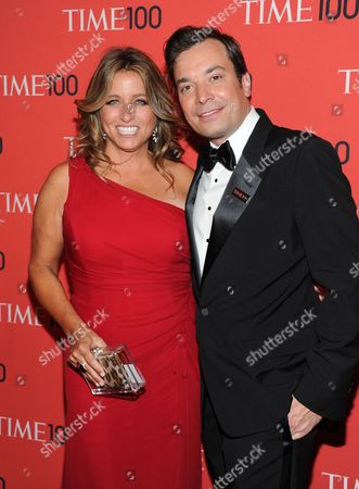 """Talk show host Jimmy Fallon and wife Nancy Juvonen attend the TIME 100 Gala celebrating the """"100 Most Influential People in the World"""" at Jazz at Lincoln Center in New York. Fallon has a re-run on his hands - he and his wife, Nancy, have welcomed their second child. A representative for the The Tonight Show host said Frances Cole Fallon was born at 8:45 a.m., weighing 5 pounds, 11 ounces"""