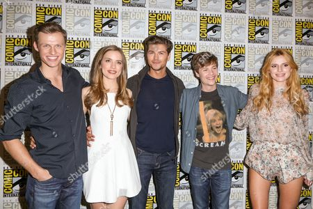 From left, Connor Weil, Willa Fitzgerald, Amadeus Serafini, John Karna, and Bella Thorne attend the Scream press line on day 2 of Comic-Con International, in San Diego