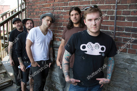 "From right, Brian Fallon, Benny Horowitz, Alex Levine, Alex Rosamilia, and Ian Perkins, of the musical group, The Gaslight Anthem, pose for a portrait at the Cannery Ballroom, in Nashville, Tenn. The Gaslight Anthem was back in Nashville last week for a concert stop and to talk about ""Handwritten,"" the much anticipated new release from a band with a lot of high hopes pinned to it"