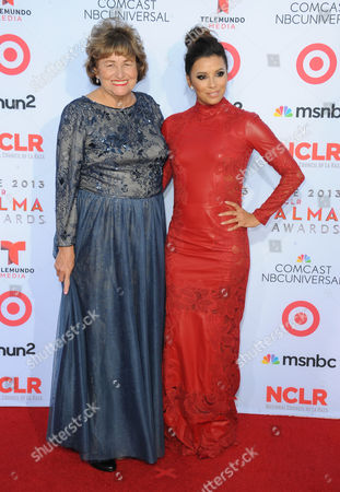L-R) Eva Longoria, and her mother, Ella Eva Mireles arrives at the 2013 NCLR ALMA Awards at Pasadena Civic Auditorium in Pasadena, CA on