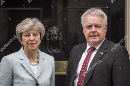 Stock Image of Prime Minister Theresa May meets Welsh First Minister Carwyn Howell Jones