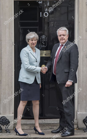 Stock Picture of Prime Minister Theresa May meets Welsh First Minister Carwyn Howell Jones