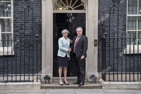 Stock Photo of Prime Minister Theresa May meets Welsh First Minister Carwyn Howell Jones