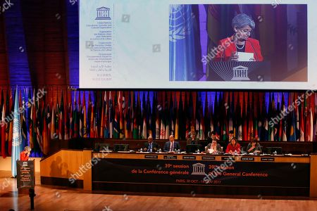 Director-General of the United Nations Educational, Scientific and Cultural Organisation (UNESCO) Irina Bokova delivers her speech during the 39th session of the General Conference at the UNESCO headquarters in Paris, France