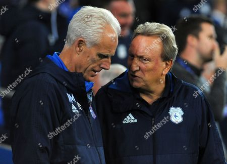 Ipswich Town manager Mick McCarthy talks to Cardiff City manager Neil Warnock before kickoff