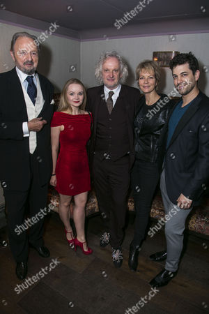 Stock Picture of Peter Bowles (Father Lankester Merrin), Clare Louise Connolly (Regan), Sean Mathias (Director), Jenny Seagrove (Chris MacNeil) and Adam Garcia (Father Damien Karras)