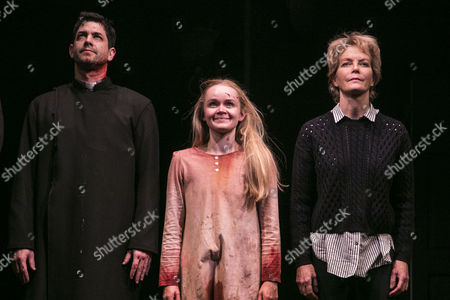 Adam Garcia (Father Damien Karras), Clare Louise Connolly (Regan) and Jenny Seagrove (Chris MacNeil) during the curtain call