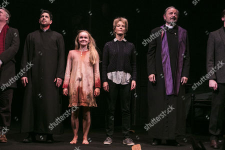 Adam Garcia (Father Damien Karras), Clare Louise Connolly (Regan), Jenny Seagrove (Chris MacNeil) and Peter Bowles (Father Lankester Merrin) during the curtain call