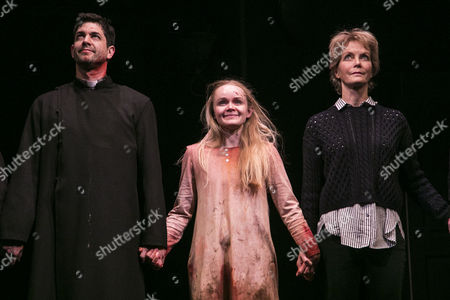 Stock Photo of Adam Garcia (Father Damien Karras), Clare Louise Connolly (Regan) and Jenny Seagrove (Chris MacNeil) during the curtain call