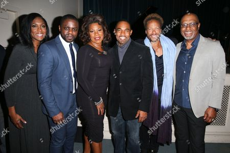 Stock Picture of Nita Whitaker, from left, Okezie Morro, Lorraine Toussaint, Jason George, Gary Dourdan and James Pickens Jr. celebrate Black History Month at Forest Lawn-Hollywood Hills, in Los Angeles