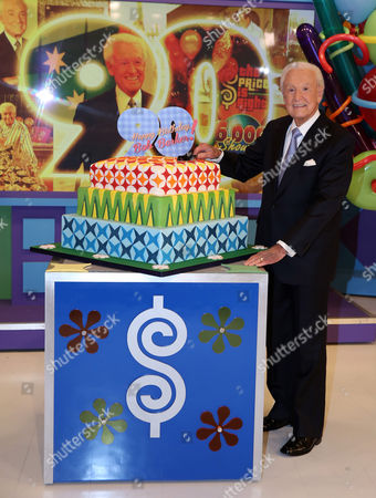 "Bob Barker poses for a photo on the set of ""The Price is Right"" after a special appearance that will celebrate his 90th birthday at CBS Studios on in Los Angeles"