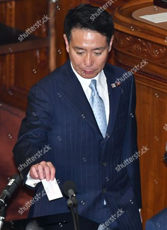 Seiji Maehara, former leader of the opposition Democratic Party, casts his ballot in a parliamentary election to choose the nation's leader