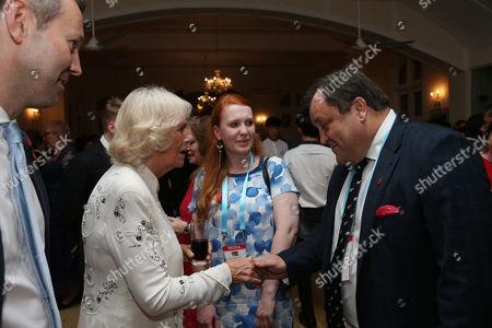 Camilla Duchess of Cornwall meets the press: Hannah Furness, Robert Jobson, Robert Hardman at a reception at the British High Commissioner's Residence