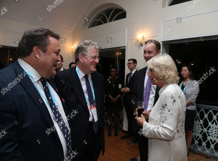 Camilla Duchess of Cornwall meets Robert Jobson, Robert Hardman during a reception at the British High Commissioner's Residence