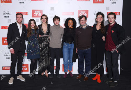 Cast of Howard's End- L-R Joe Bannister, Philippa Coulthard, Hayley Atwell, Alex Lawther, Rozalind Eleazar, Kenneth Lonergan, Bessie Carter and Joe Quinn