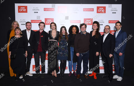 Stock Photo of Cast of Howard's End- L-R Sophie Gardiner, Laura Hastings-Smith, Joe Bannister, Joe Quinn, Hayley Atwell, Philippa Coulthard, Rozalind Eleazar, Kenneth Lonergan, Bessie Carter and Colin Callender