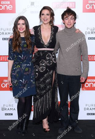 Stock Photo of Philippa Coulthard, Hayley Atwell and Alex Lawther