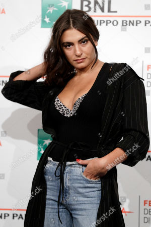 """Actress Yumna Marwan poses for photos during the photo call of the movie """"One of These Days"""", at the 12th edition of the Rome Film Fest, in Rome"""