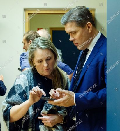 Bjarni Benediktsson, leader of the Independence Party and Prime Minister of Iceland, prepares for the television debate with his assistant Svanhildur Holm