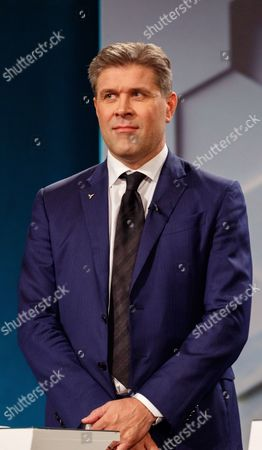 Stock Photo of Bjarni Benediktsson leader of the Independence party and Prime Minister of Iceland attends a television debate