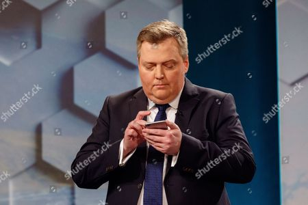 Stock Photo of Former Prime Minister Sigmundur David Gunnlaugsson leader of the Center party attends a television debate
