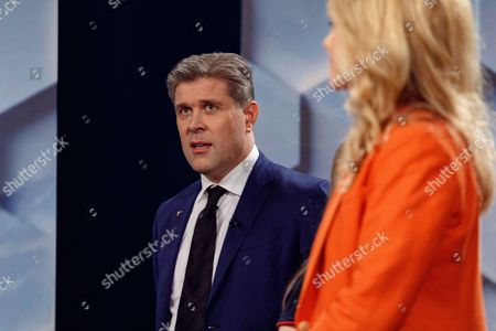 Stock Picture of Bjarni Benediktsson leader of the Independence party attends a television debate