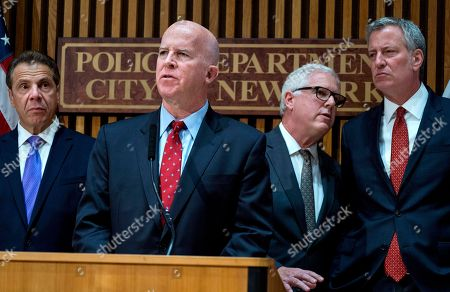 New York Police Commissioner James P. O'Neill speaks during a news conference, at One Police Plaza in New York in the wake of a truck attack on a bike path that killed eight and injured several others Tuesday near One World Trade Center. From left are New York Governor Andrew Cuomo, O'Neill, Deputy Commissioner of Intelligence & Counter-terrorism John Miller, and New York City Mayor Bill de Blasio