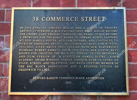 This plaque describes the history of the Cherry Lane Theatre in Greenwich Village in New York. For much of the 20th century, the neighborhood was a bohemian enclave that attracted artists, writers, musicians and others. The plaque says the theater showcased early works by famed playwrights like Sam Shepard and Edward Albee