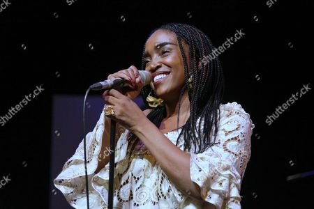 Editorial photo of Emeline Michel in concert at Centre Walonnie Bruxelles, Paris, France - 26 Sep 2017