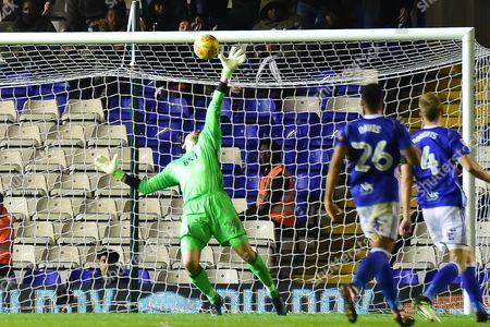 Birmingham City goalkeeper Tomasz Kuszczak (29) makes an important save during the EFL Sky Bet Championship match between Birmingham City and Brentford at St Andrews, Birmingham