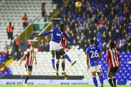 Birmingham City midfielder Cheikh N'Doye (17) heads the ball during the EFL Sky Bet Championship match between Birmingham City and Brentford at St Andrews, Birmingham