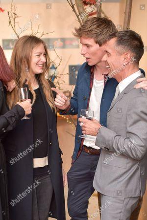 Hannah Bagshawe, Eddie Redmayne and Shaun Leane