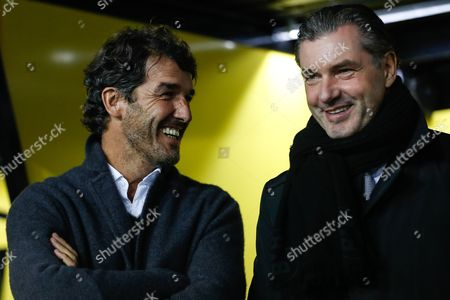 Dortmund's director of sports Michael Zorc (R) and former Dortmund player Karl-Heinz Riedle (L) during the UEFA Champions League group H soccer match between Borussia Dortmund and APOEL Nicosia in Dortmund, Germany, 01 November 2017.