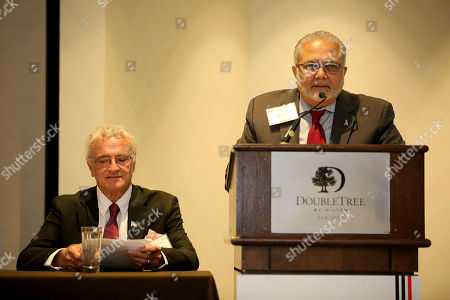 Stock Image of Kevin Dobson, veterans chairman of SAG/AFTRA, left, and Richard Chacon, diversity lead for Union Bank met with 150 San Jose area entrepreneurs at a Union Bank-sponsored Business Matchmaking event at the Double Tree Hotel in San Jose CA., on