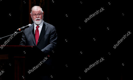 Canadian born Argentinian writer Alberto Manguel gives a speech during the ceremony of Gabriel Garcia Marquez Hispanic-American Tale Award in Bogota, Colombia, 01 November 2017. Spanish writer Alejandro Morellon wins the Gabriel Garcia Marquez Hispanic-American Tale Award.