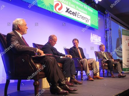 Bill Ritter, Matt Mead, Steve Bullock, John Hickenlooper. Graph, former Colorado Governor Bill Ritter, Gov. Matt Mead, R-Wy., Gov. Steve Bullock, D-Mt., and Gov. John Hickenlooper, D-Colo., look on at the 21st Century Energy Transition Symposium at Colorado State University in Fort Collins, Colo. Governors from four states in the intermountain West were on hand to discuss the energy issues facing their states