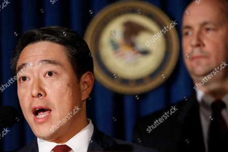 Stock Picture of Joon H. Kim, Bill Sweeney. Acting U.S. Attorney Joon H. Kim, left, announces an indictment against Sayfullo Saipov, the suspect in Tueday's bike path attack, at the U.S. Attorney's office in New York. FBI assistant Director-in-Charge Bull Sweeeny is at right