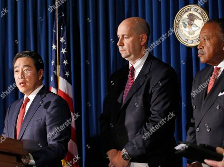 Joon H. Kim, Bill Sweeney, Benjamin Tucker. Acting U.S. Attorney Joon H. Kim, left, announces an indictment against Sayfullo Saipov, the suspect in Tuesday's bike path attack, as FBI assistant Director-in-Charge Bill Sweeney, center, and NYPD First Deputy Commissioner Benjamin Tucker, right, listen during a news conference at the U.S. Attorney's office, in New York