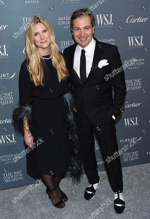 Stock Image of Kristina O'Neill, Anthony Cenname. WSJ. Magazine Editor in Chief Kristina O'Neill, left, and publisher of WSJ. Magazine Anthony Cenname attend the WSJ. Magazine Innovator Awards at The Museum of Modern Art, in New York