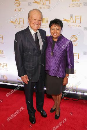 George Stevens, Jr., Carla Hayden. AFI Founding Director George Stevens, Jr., left, and Librarian of Congress Dr. Carla Hayden attend AFI's 50th Anniversary Gala at The Library of Congress, in Washington