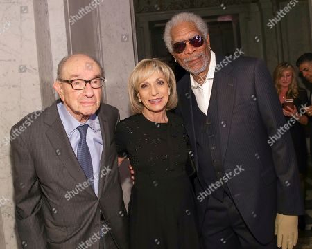 Alan Greenspan, Andrea Mitchell, Morgan Freeman. Former Federal Reserve Chairman Alan Greenspan, from left, journalist Andrea Mitchell and actor Morgan Freeman attend AFI's 50th Anniversary Gala at The Library of Congress, in Washington