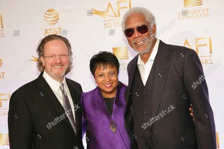 Bob Gazzale, Carla Hayden, Morgan Freeman. AFI President and CEO Bob Gazzale, from left, Librarian of Congress Dr. Carla Hayden and actor Morgan Freeman attend AFI's 50th Anniversary Gala at The Library of Congress, in Washington