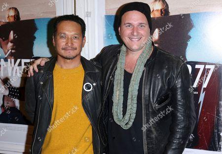 """Takuji Masuda, J. Ralph. Takuji Masuda, left, and J. Ralph arrive at the LA Premiere of """"Bunker77"""", in Santa Monica, Calif"""