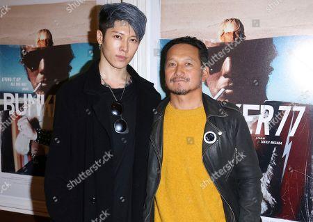 "Miyavi, Takuji Masuda. Miyavi, left, and Takuji Masuda arrive at the LA Premiere of ""Bunker77"", in Santa Monica, Calif"