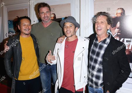 "Takuji Masuda, Gerard Butler, Christian Hosoi, Brian Grazer. Takuji Masuda, from left, Gerard Butler, Christian Hosoi and Brian Grazer arrive at the LA Premiere of ""Bunker77"", in Santa Monica, Calif"