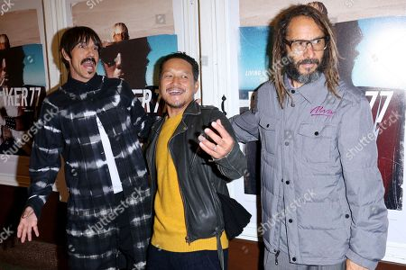"Anthony Kiedis, Takuji Masuda, Tony Alva. Anthony Kiedis, from left, Takuji Masuda and Tony Alva arrive at the LA Premiere of ""Bunker77"", in Santa Monica, Calif"